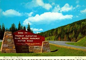 North Carolina Blue Ridge Parkway Motor Road Highest Elevation Sign