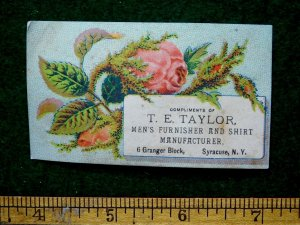 1870s-80s T. E. Taylor Men's Furnisher & Shirt Maker Victorian Trade Card F31