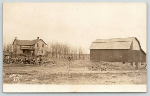 Barron Dallas WI Photographer HH Denison~Farm House Barn~Sawing Logs~c1912 RPPC