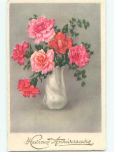 Very Old Foreign Postcard BEAUTIFUL FLOWERS SCENE AA4689