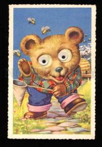 016610 Dressed TEDDY BEAR w/ Moving Eyes BEE Vintage Color PC