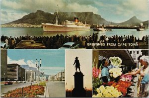 Greetings from Cape Town South Africa Steamship Multiview Unused Postcard C3
