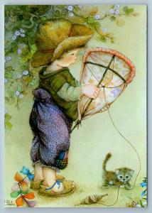 Little Boy launches a kite with CAT Kitten by Lisi Martin NEW postcard
