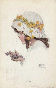 AS: Alice, Profile of Girl wearing bonnet holding dead flowers, PU-1913
