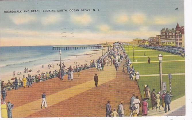 New Jersey Ocean Grove Boardwalk and Beach Looking South 1938