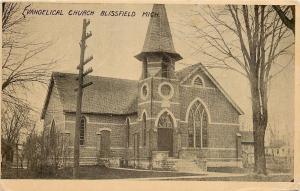 Blissfield MI~Evangelical Church in Winter~Nice Open Belltower 1912 Postcard