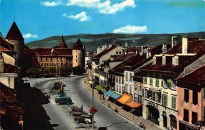 Switzerland Yverdon Rue de la Plaine Chateau Castle Street Cars Postcard