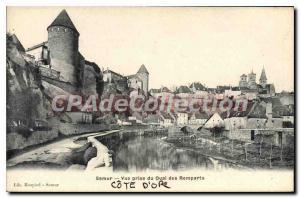Old Postcard Semur Vue Prize Du Quai Des Remparts