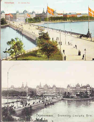 Denmark - Dronning Louises Bridge , Copenhagen - Two Cards