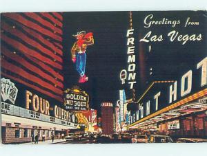 Pre-1980 CASINO BUILDINGS AT NIGHT Las Vegas Nevada NV G5101