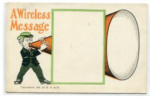 A Wireless Message From An Earlier Age 1905c Vintage postcard