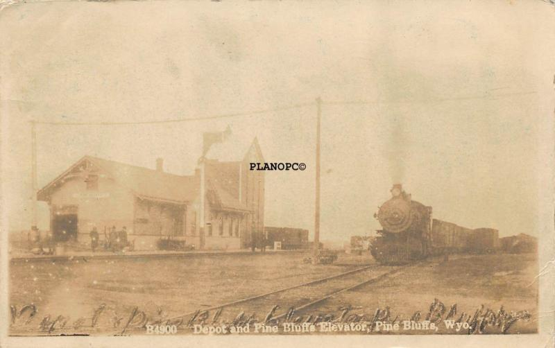 PINE BLUFFS, WYOMING TRAIN DEPOT AND ELEVATOR-1913 RPPC REAL PHOTO  POSTCARD