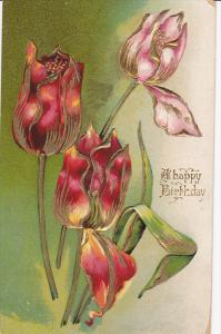 A happy Birthday, Pink and Red flowers, Gold details, PU-1909