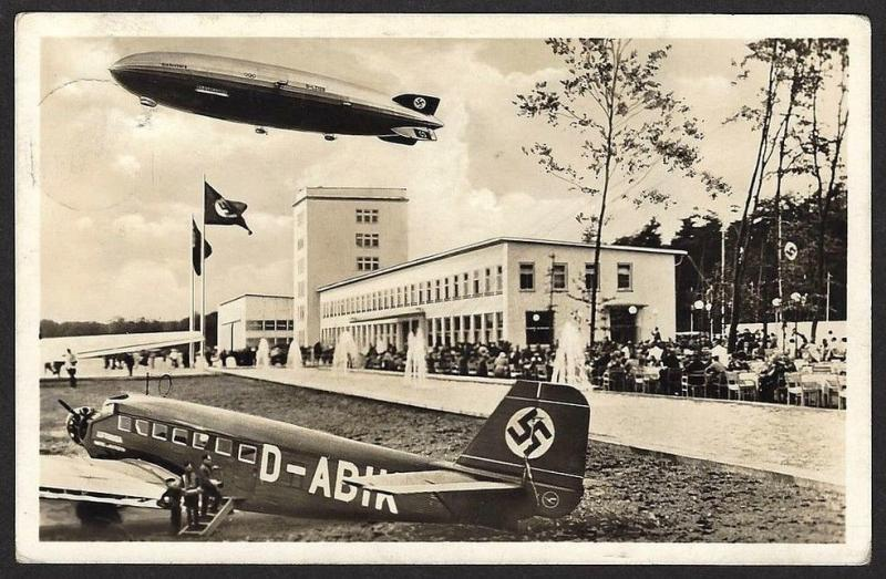 Hidenburg over Frankfurt airport vintage postcard