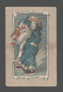 083751 Blue-Robe SANTA CLAUS w/ Toys BLIZZARD Vintage RUSSIAN