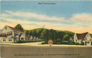 Hot Springs AR~Best Tourist  Court ~Owner-Manager Burch 1952 Postcard