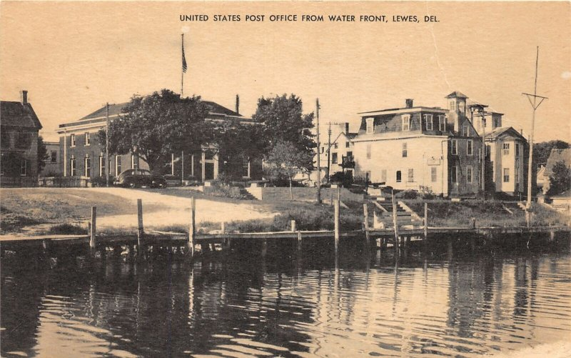 H76/ Lewes Delaware Postcard c1920s United States Post Office from Water 109