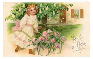 Vintage Postcard To One I Love Pretty Girl Pushes Rose Cart