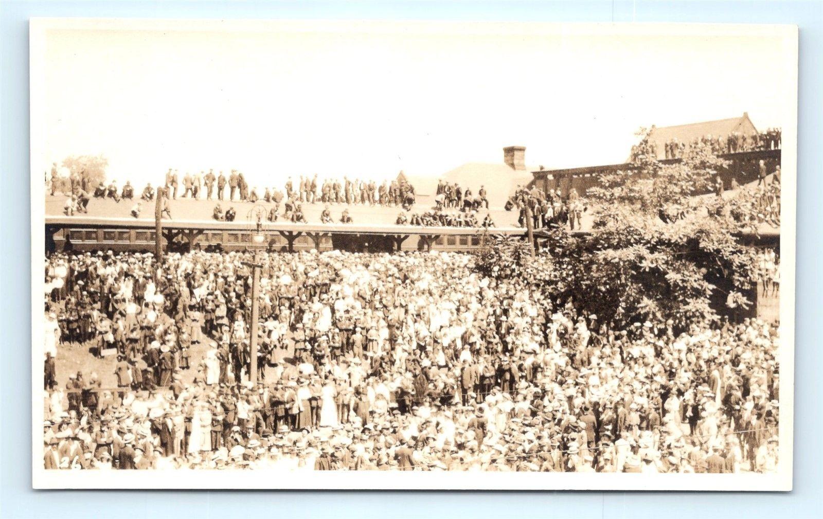 adf432ced18b Postcard MA Springfield Crowd at Train Station Pre 1920s RPPC Real ...