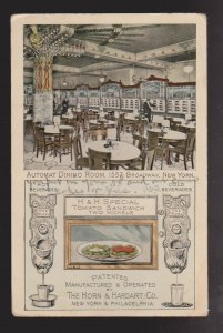 Automat Dining Room 1557 Broadway, NY - 1910s - Unused But Writing Front & Back