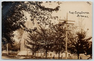 Byron Illinois~First Congregational Church~Wood Fence Posts~Rails~1907 RPPC