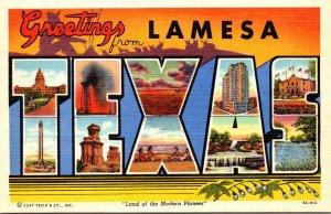 Texas Lamesa Greetings Large Letter Linen Curteich
