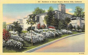 BEVERLY HILLS, CA California HOME~Actress & Dancer GINGER ROGERS 1940 Postcard