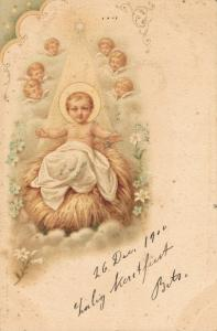Happy New Year vintage postcard Child and Angels 02.52