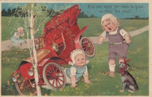 Toddlers wreck an automobile, dog , PU-1907; PFB 7318