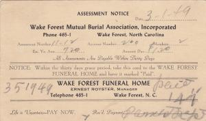 WAKE FOREST, N.C. , 1949 : Funeral Home Assessment Noteic, Wake Forest Mutual As