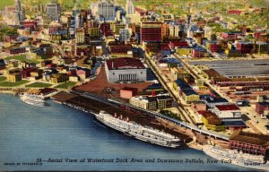 New York Buffalo Aerial View Of Waterfront Dock Area and Downtown 1950 Curteich
