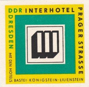 Germany Dresden Interhotel Prager Strasse Vintage Luggage Label sk2609
