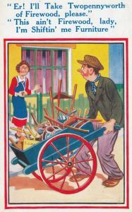 Lady Mistakes Rag & Bone Man Vintage Comic Humour Postcard