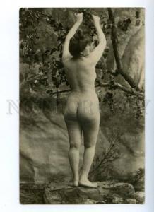 161008 NUDE Plump WOMAN Garden NYMPH Vintage PHOTO PC