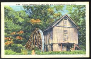 Asheville NC Grist Mill with Old Fashioned Water Wheel Linen PostCard Co