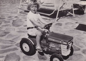 Prince Johan Friso With Toy Truck Tractor Real Photo Postcard