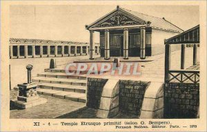 Old Postcard primitive Etruscan temple