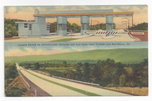 PA Turnpike Toll Gate Longest Stretch Carlisle Harrisburg 1941 Linen Postcard