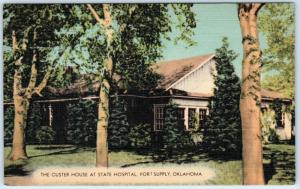 FORT SUPPLY STATE HOSPITAL-ASYLUM, Oklahoma OK   Custer House c1940s Postcard