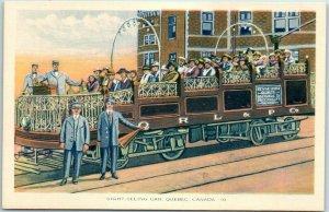 Quebec City QC Canada Postcard SIGHT-SEEING CAR Trolley Streetcar c1930s