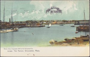 Gloucester MA - the HARBOR with lots of sailing type boats 1900s