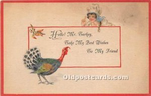 Thanksgiving Greetings Unused a lot of stain on front,