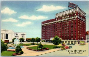 Dallas, Texas Postcard HOTEL JEFFERSON Building Street View Curteich Linen 1941
