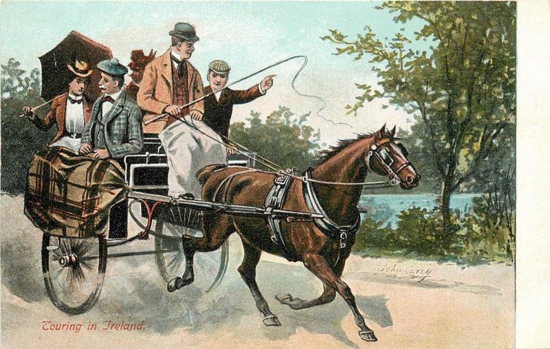 Touring In Ireland Postcard. Horse Drawn Two Wheeled Cart