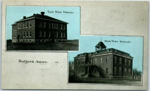 Stafford, KS Postcard East Side / West Side School Buildings C.U. Williams 1910s