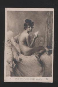 077468 NUDE Lady w/ Love Letter & CAT by LARD old SALON 1908