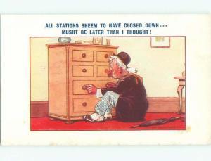 Bamforth Comic signed MAN AT BEDROOM DRESSER AB9724