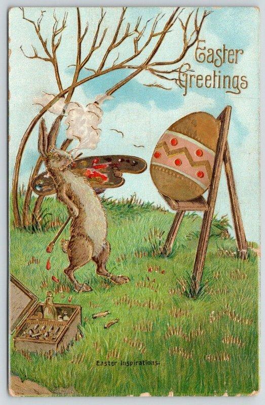 Easter Fantasy~Artist Rabbit Steps Back to Admire Work~Egg on Easel~Gold Emboss