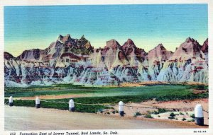 Formation By Lower Tunnel Bad Lands South Dakota Posted Vintage Linen Post Card