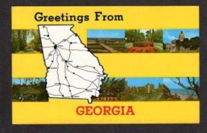 GA Greetings from GEORGIA State Map Postcard Atlanta PC
